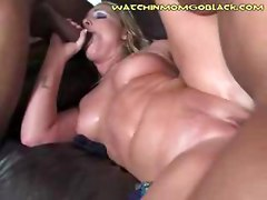 Three black men fuck a white moms pussy so hard that she squirts everywhere while her son is sitting less than three feet away to teach him a lesson about gambling