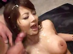 asian japanese big tits bukkake cumshot
