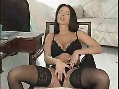 brunette lingerie striptease pussy rubbing big tits tight solo babe stockings masturbation teasing ass softcore masturbation
