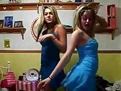 Two hot blonde webcam girls dancing in sexy short skirts