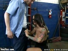 blowjob boobs brunette cock suck