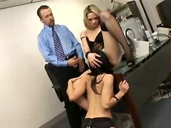 threesome office sex anal stockings suck