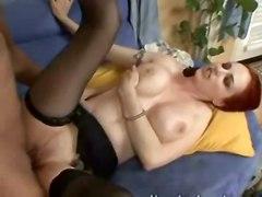 stockings cumshot hardcore blowjob tattoo redhead pussyfucking