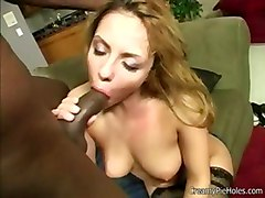 interracial blowjob stocking hardcore creampie