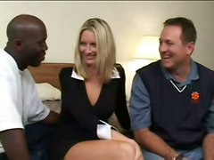 blonde interracial creampie upskirt blowjob thong shaved bigtits bed highheels pussyfucking gangbang skirt pinkpussy cuminpussy doublepoke multipleblowjobs