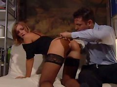 threesome double penetration blowjob stockings whore