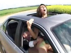 brunette french european busty babe outdoor car blowjob cock suck oral fuck sex hardcore anal cumshot
