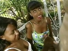 ebony threesome handjob big tits brunette cumshot outdoor