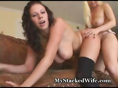 busty big tits wife pussy eating strap on toys lesbian