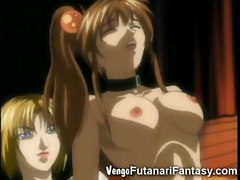 Big cocked futanari toon initiates a young virgin to group sex and makes her best friend cum on her innocent face