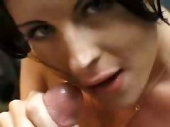 amateur homemade teasing blowjob brunette couple girlfriend tattoo big tits natural cumshot facial pov