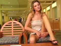 pussy solo masturbation public voyeur babe blonde