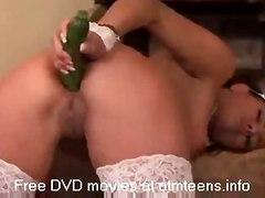 stockings brunette masturbation solo vegetable insertion maid veggie