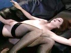 stockings skinny redhead fishnet lingerie analsex heels orgasm chloe nicole stilettos