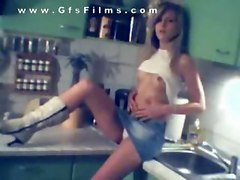 This video is awesome  A cute little teen strips nakes in the kitchen and plays with wiped cream  She dumped her boyfriend  and the video ended up online  where horny old dad saw his little girls pussy