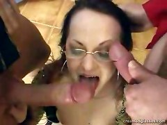 Glasses Wearing Slut Gangbanged