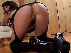 beautiful ass  stockings  black stockings  brunette  blowjob  from behind  group  fmm  threesome  anal  dp  sandwiched  