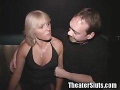 MILF gangbang on porn theater