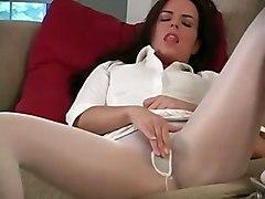 brunette clothed masturbation solo pantyhose