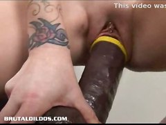 dildo blonde tattoo toy toys masturbation solo dildos
