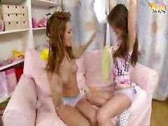 Two lesbians strapon