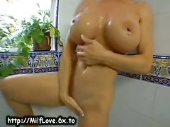 milf brunette wet bigtits masturbation solo shower reality straight
