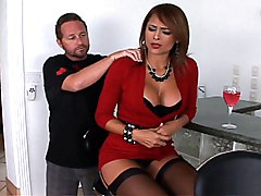 latina  horny  stockings  big tits  beautiful tits  sexy dress  penetration  chair  spread legs Monique Fuentes