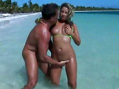Ramming Tanned Blonde On The Beach!