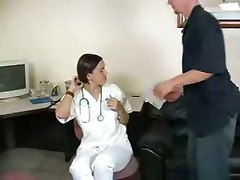 office reality brunette doctor nurse funny handjob oil cumshot