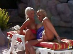 lesbian blonde shaved fingering glasses bigtits titlicking pussylicking highheels skirt outdoors swimmingpool ponytail