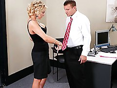 blonde  hairstyle  cute  sexy  dominated woman  finger fuck  desk  on side  from behind  cock ride Gigi La Porte