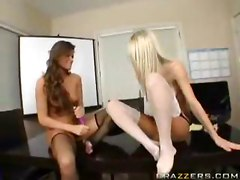 lesbian stockings dildo strapon
