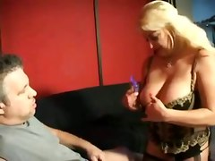 mature blonde big tits teasing deepthroat face fuck facial gagging handjob blowjob cumshot lingerie bbw fat tittyfuck