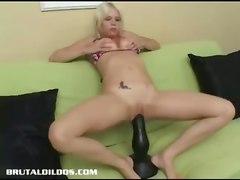 dildo blonde masturbation solo extreme hugedildo