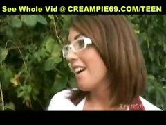 stockings teen hardcore creampie blowjob brunette schoolgirl pussylicking pussyfucking