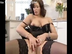stockings dildo milf mature masturbating bigtits masturbation solo housewife sextoys