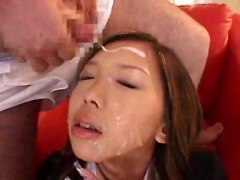 brunette facial cumshot bukkake schoolgirl asian japanese