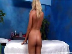 Blonde plays with clit while riding huge dick
