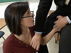 brunette  hairstyle  on her knees  blowjob  glasses  tits fuck  clothes off Brooke Adams