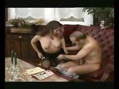 pussylicking riding european brunette tight lingerie stockings teasing blowjob handjob panties chubby big dick