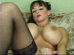 masturbation solo lingerie toys dildo stockings big tits milf piercing fingering brunette