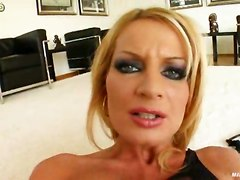blonde stockings anal dildo cumshot cum swallowing