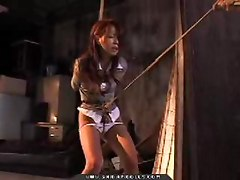 Hot asian business girl tied up in bondage and lingerie panties and nylon