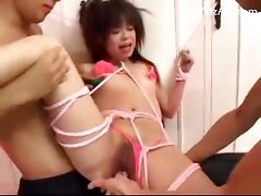Petite Girl In Rope Bondeage Getting Her Pussy Fingered Fucked With Toys By 2 Guys