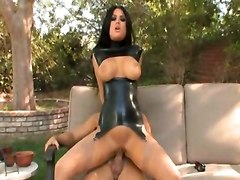 eva angelina big cock lingerie busty leather