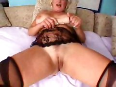 pornstar big tits natural blonde lingerie panties stockings Pussy wet rubbing Big Ass dildo toys masturbation couch blowjob mature