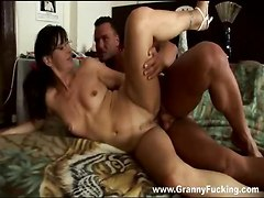 cock riding pussy eating hardcore glasses mature