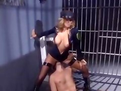 fishnets boots busty blonde