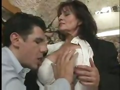 mature brunette granny blowjob big tits tit fuck hairy pussy cumshot