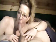 amateur homemade glasses webcam teasing blowjob deepthroat milf mom wife couple big dick handjob pov cumshot facial